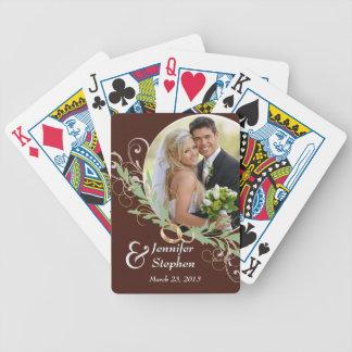 Naipes de la foto del boda del remolino de la barajas de cartas