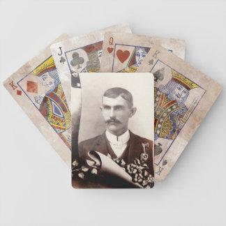 Naipes de la fotografía del vintage del bigote del barajas