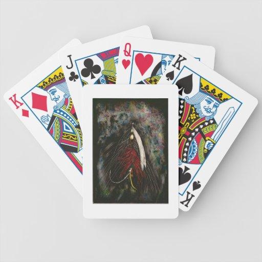 Naipes de la pesca con mosca baraja cartas de poker