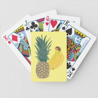 Naipes de la piña y de los plátanos baraja cartas de poker