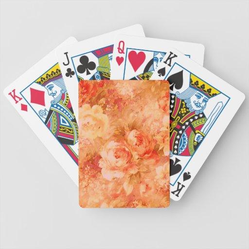 Naipes de la pintura de la flor cartas de juego