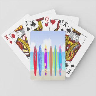 Naipes de la playa de las tablas hawaianas barajas de cartas