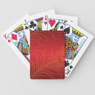 Naipes de la pluma del pavo real baraja cartas de poker