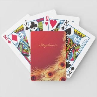 Naipes de la pluma del pavo real cartas de juego