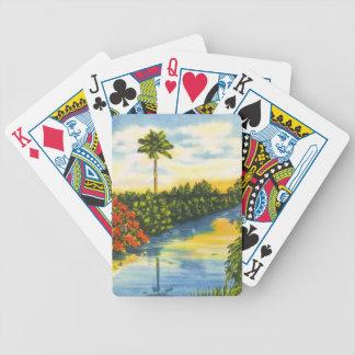 Naipes de la puesta del sol de la palmera de la Fl Baraja Cartas De Poker
