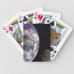 Naipes de la tierra y de la luna del planeta baraja de cartas