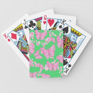 Naipes de las mariposas y de las flores baraja de cartas