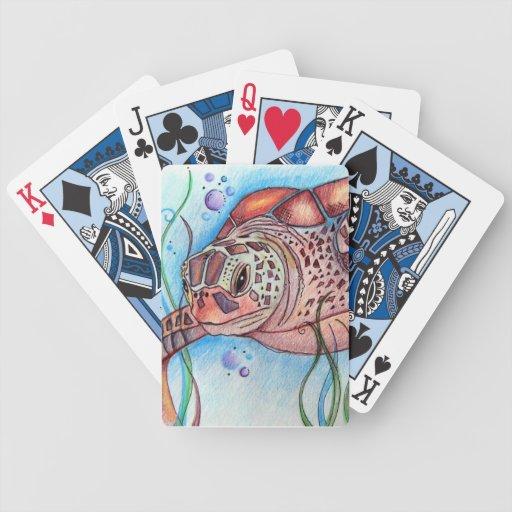Naipes de las tortugas de mar baraja de cartas