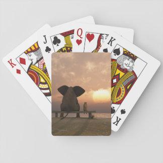 Naipes de los amigos del elefante y del perro