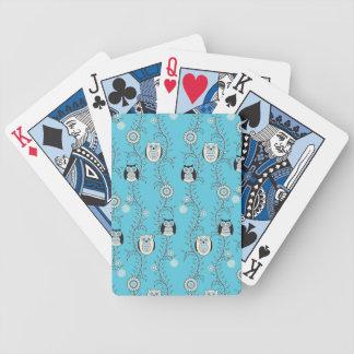 Naipes de los búhos del invierno baraja de cartas