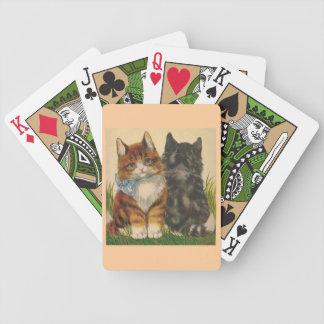 Naipes de los gatitos del vintage baraja
