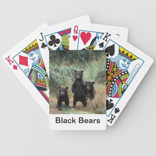 Naipes de los osos negros barajas de cartas
