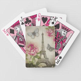 Naipes de los Peonies de la torre Eiffel de París  Cartas De Juego