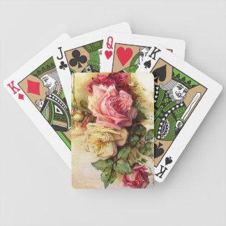 Naipes de los rosas del vintage baraja cartas de poker