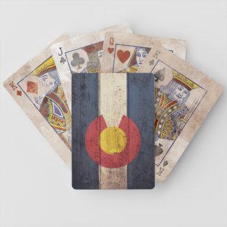 Naipes de madera viejos de la bandera de Colorado