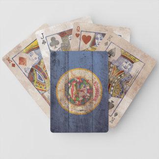 Naipes de madera viejos de la bandera de Minnesota Baraja Cartas De Poker