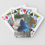 Naipes de reclinación de la mariposa azul barajas de cartas