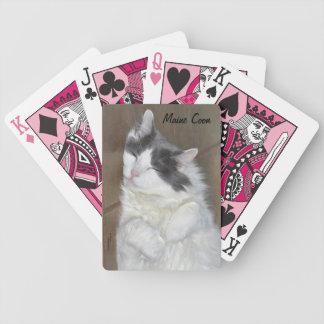 Naipes de reclinación lindos del gato de Coon de M Baraja De Cartas