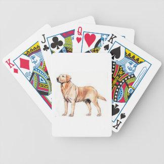Naipes del amarillo del perro del labrador retriev cartas de juego