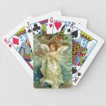 Naipes del ángel del navidad del vintage baraja de cartas
