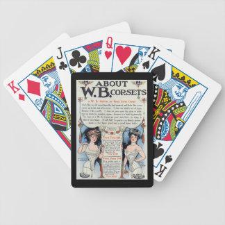Naipes del anuncio del corsé del vintage baraja de cartas