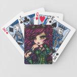 Naipes del arte del chica de las gafas de la pluma cartas de juego