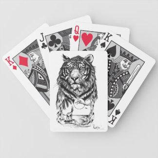 Naipes del arte del tigre del tatuaje baraja de cartas