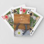 Naipes del boda del país de la margarita y de la h barajas de cartas