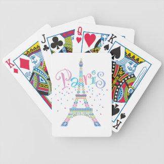 Naipes del confeti de la torre Eiffel Baraja Cartas De Poker