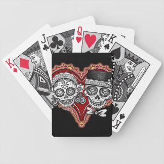 Naipes del corazón de los pares del cráneo del azú barajas de cartas