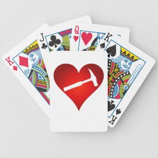 Naipes del corazón del martillo de la roca barajas de cartas