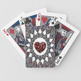 Naipes del corazón del vitral cartas de juego