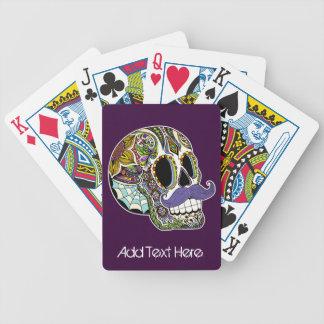 Naipes del cráneo del azúcar del bigote (color) barajas de cartas