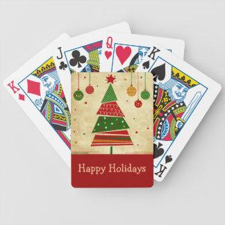 Naipes del día de fiesta del árbol de navidad del  cartas de juego