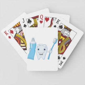 Naipes del diente y del cepillo de dientes barajas de cartas