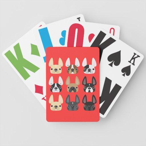 Naipes del dogo francés baraja de cartas