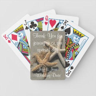 Naipes del favor del boda de playa baraja de cartas