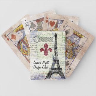 Naipes del francés del vintage de la torre Eiffel