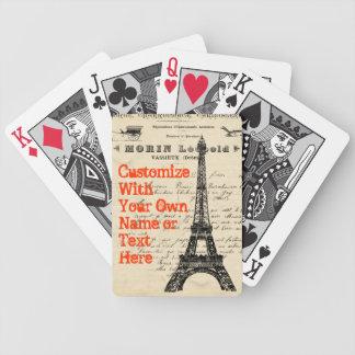 Naipes del francés del vintage de la torre Eiffel Cartas De Juego