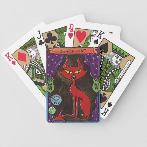 Naipes del gato del diablo baraja cartas de poker