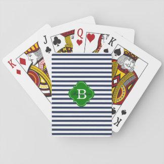 Naipes del monograma de la raya azul barajas de cartas