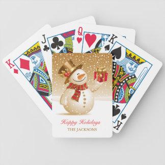 Naipes del muñeco de nieve del navidad cartas de juego