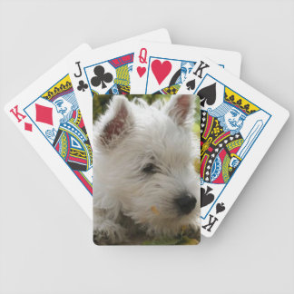 Naipes del perro de Terrier blanco de montaña del  Barajas De Cartas