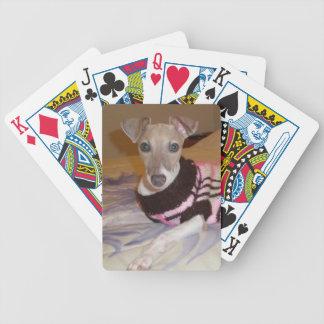 Naipes del perro del galgo italiano cartas de juego