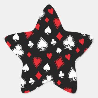 Naipes del póker pegatina en forma de estrella
