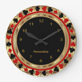 Naipes del póker reloj redondo grande