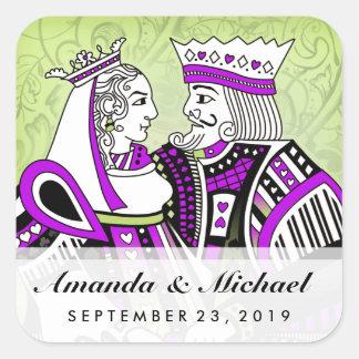 Naipes del rey y de la reina que casan nombre y la pegatina cuadrada