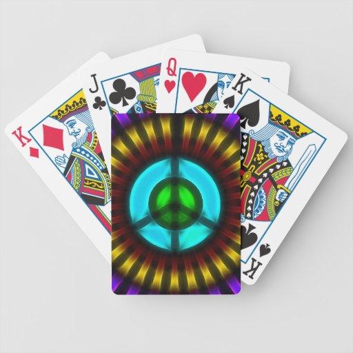Naipes del signo de la paz barajas de cartas