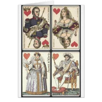 Naipes del vintage - reyes y Queens de corazones Tarjetón