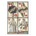 Naipes del vintage - reyes y Queens de corazones Postales